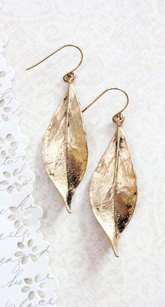 Long Gold Leaf Earrings Woodland Jewellery by apocketofposies