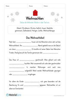 Arbeitsblatt: Lückentext zu Weihnachten German Christmas, Xmas, German Grammar, Green Detox Smoothie, German Language Learning, Learn German, Homeschool, Train, Teaching