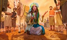 Abigail se baja de su burro y se humilla delante de David