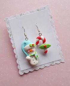 Cute christmas earrings handmade winter jewellery Xmas party