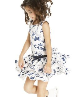 3f4e8d3abbcf Biscotti True Blue Floral and Ivory Sleeveless Girls Dress The