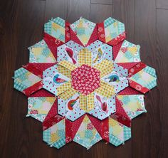 Part of round 1 of the New Hexagon Millefiori Quilt along