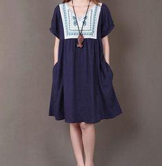 Dark blue linen dress linen shirt linen by originalstyleshop, $59.00