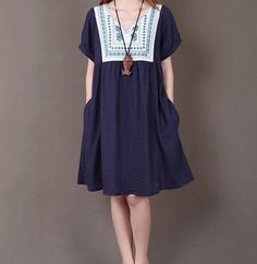 Dark blue linen dress linen shirt linen by originalstyleshop, $59.00