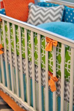 Aqua Lime and Orange Custom Crib Bedding You by RockyTopDesign, Color inspiration