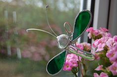 Abstract Stained Glass Green Dragonfly Plant Ornament via Etsy