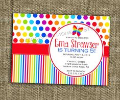 PRINTABLE INVITATION Rainbow Party Collection - Bright and Colorful Birthday Party Invitation - Memorable Moments Studio. $13.00, via Etsy.