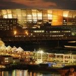 For the first time this past week Capetonians saw the Cape Town Stadium in its lit-up glory, while the lighting checks were being done. Fifa World Cup Game, V&a Waterfront, Cape Town South Africa, Far Away, Marina Bay Sands, Architecture, Building, Travel, Soccer City