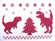 Indominus rex dinosaurs with Christmas tree classic ornament cross stitch - machine embroidery design - multiple sizes, for hoops 4x4, 5x7 and 6x10 5x7 - as shown on photo 6x10 - with slightly bigger crosses, than show on photo 4x4 T-rex, indominus rex, tree and snowflakes come as separate files, There is possible to combine designs indominus rex sizes 4 and 4 1/2 inches T-rex sizes - 3 1/2 inches and 4 inches Tree sizes - 3 inches and 3 1/2 inches Snowflakes - 2/3 in...