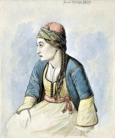 Karl August Krazeisen Portrait of a woman from Poros island 30 May 1827 Island, Costumes, Portrait, Painting, Woman, Greece, Clothing, People, Greece Country