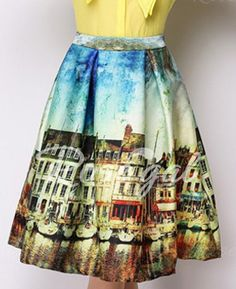 Vintage Style High-Waisted Printed Women's Ball Gown SkirtVintage Skirts | RoseGal.com