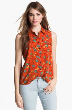 Two by Vince Camuto Sleeveless Floral Print Shirt available at #Nordstrom