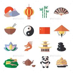 China Icons Set by macrovector China travel asian traditional culture symbols icons set isolated vector illustration. Editable EPS and Render in JPG format Like Symbol, Chinese Crafts, Chinese Cartoon, Chinese Symbols, Chef D Oeuvre, China Travel, Japanese Design, Chinese Culture, Illustrations