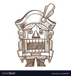 Nutcracker retro toy sketch hand drawn vector image on VectorStock Vector Hand, Vector Free, Sketch Icon, Fairy Tales For Kids, Vintage Cartoon, Christmas Illustration, Retro Toys, Sketch Design, Book Design
