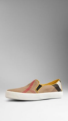 Canvas Check Slip-On Trainers | Burberry