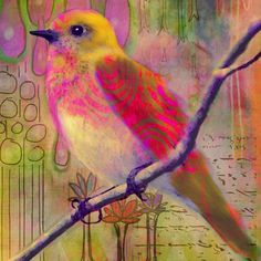 Amazing, bright painting of bird on branch. The background is beautiful. Loads of paint running down. I wondering if this is watercolor?