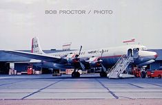 Over at the cargo terminal, American's is prepared for flight. This airplane went to World Airways in in April 1960 and crashed four months later, shortly after takeoff from Agana, Guam. Cargo Services, Cargo Aircraft, Cargo Airlines, Airplane Mode, Pet Carriers, Aviation, Bob, United States, American