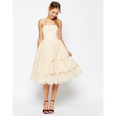 ASOS SALON Tiered Lace Midi Prom Dress (£60) ❤ liked on Polyvore featuring dresses, cream, cocktail prom dress, lace midi dress, asos dresses, cream prom dresses and eyelash lace dress