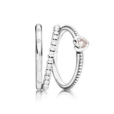 Pandora Mother's Day Pink Delicate Heart Ring Stack size 3