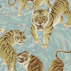 Tora Mystical Tigers Metallic in Aqua Pink Castle, Memphis, Tigers, Mystic, Aqua, Metallic, Quilts, Fabric, Animals