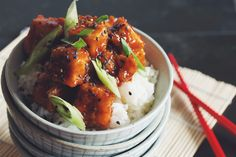 bring on the ultimate comfort food... crispy sweet and sour tofu with rice  is as simple and easy as it gets!