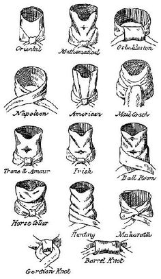 A few of the neckcloth styles of the 18th/19th centuries & their names.