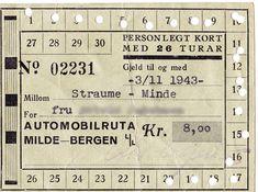 Klippekort fra 1943 (Senere FOM/BLF) Historisk kilppekort fra Automobilruta Milde-Bergen L/L.  - Det var mange reiser en fikk den gangen for kr. 8,00. BSH takker  for bildet som sikkert vekker en del minner. Kilde/Foto: K.J.G. Hilt.