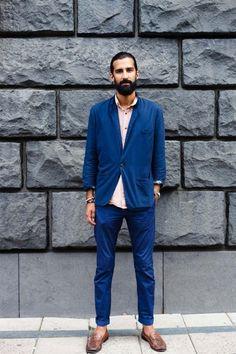 #guys #mens #street #fashion #menswear #style #streetstyle #blue #suit #chino