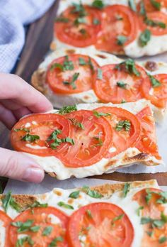 Tomato Basil Mozzarella Toasts - Tastes Better From Scratch Yummy Appetizers, Appetizer Recipes, Simple Appetizers, Sandwich Recipes, Seafood Recipes, Clean Eating Snacks, Healthy Snacks, Tomato Mozzarella, Tomato Basil Pizza