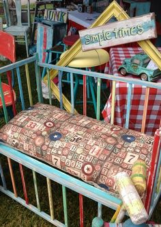 Vintage upcycled crib, painted  distressed, funky junk by tina