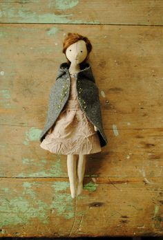 Reserved for Ellie / cloth doll / girl with woolen por willowynn