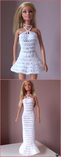 Crochet Mini or Long Barbie Dress Free Pattern - Crochet Barbie Fashion Doll Clothes Outfits Free Patterns Sie Kleidung Outfit How to Crochet a Bear - Crochet Ideas Crochet Barbie Patterns, Crochet Patterns Free Women, Crochet Baby Dress Pattern, Crochet Doll Dress, Barbie Clothes Patterns, Crochet Barbie Clothes, Doll Clothes Barbie, Doll Dress Patterns, Barbie Dress