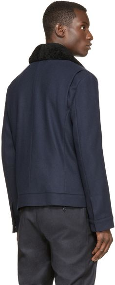 Helmut Lang Navy Melton Aviator Jacket