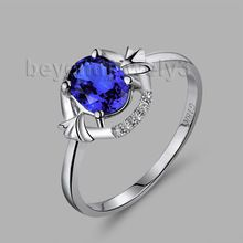 Oval 5x7mm Sapphire Wedding Ring 18k White Gold Diamond Party Ring