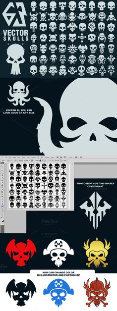 63 Vector Skulls Collection. Clothes Icons. $5.00 Grafitti Letters, Skull Game, Banner Design Inspiration, Photoshop Shapes, Human Icon, Game Logo Design, Pirate Hats, Monster Design, Game Icon