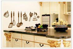 Barato 1 Pcs adesivos de parede da cozinha de cozinha talheres de cozinha decalques removível PVC papel de parede, Compro Qualidade Papéis de parede diretamente de fornecedores da China:                Efeito  imagens e fotos do produto                      :    &n