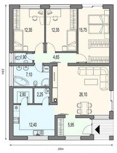 Bungalov MAX se vstupem z jihu Small House Floor Plans, Cabin House Plans, Home Design Floor Plans, House Layout Plans, Best House Plans, Bedroom House Plans, Dream House Plans, Modern House Plans, House Layouts