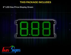 8 Inch 8.88 LED Gas Price Display Green with housing dimension H290mm x W492mm x D55mmand format 8.88 comes with complete set of Control Box, Power Cable, Signal Cable & 2 RF Remote Controls (Free remote controls).
