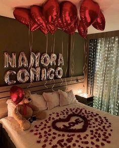 Wedding Night Room Decorations, Romantic Room Decoration, Romantic Bedroom Decor, Birthday Decorations, Romantic Room Surprise, Romantic Mood, Romantic Things, Romantic Dinners, Romantic Valentines Day Ideas