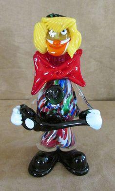 "Murano Clown Musician 9"" guitar player Vintage Italian Millefiore art glass"