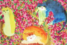 Walasse Ting, Three Cats in Flowers