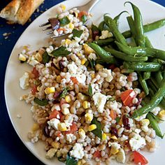 Summer Barley Salad . Today I walked by a cafe where people were eating something similar to this - great idea for Summer Garden harvests!