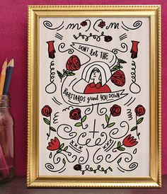 Handmaid's Tale Print - Illustrated Print With A Quote From Handmaid's Tale by Margaret Atwood - A4 And A5 Art Print By Holly Mac Draws