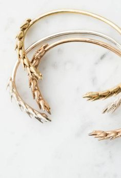 Wheat Botanical Bracelet in Brass, Bronze, or Sterling Silver | Collected Edition on Etsy