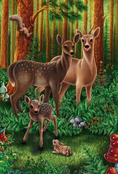 Animal Paintings, Animal Drawings, Animals And Pets, Cute Animals, Forest Drawing, Share Pictures, Deer Family, Image Nature, Deer Art