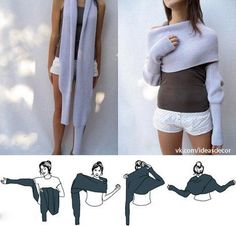 This is a scarf that can be worn as a sweater... Awesome. I NEED THIS!looks soo comfy :3