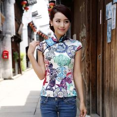 Fascinating Modern Silk Chenogsam Shirt - Pattern D - Chinese Shirts & Blouses - Women