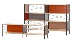 Model: ESU shelf - Ontwerper: Charles & Ray Eames, 1949 - Merk: Vitra - Materiaal: Gepoedercoat aluminium, esdoormultiplex met berkenfineer (laklaag) en zwarte poedercoating - Prijs: € 1282,60