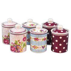 The Mia  Pembe Seri - 6 lı Baharatlık : 73,90 TL | evmanya.com Kitchen Jars, Simple Aesthetic, Shabby Vintage, Tins, Victorian Fashion, Decorating, Pretty, Design, Home Decor