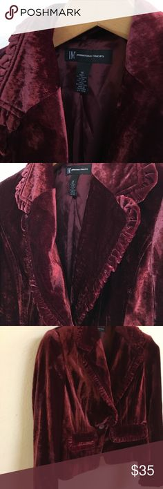International Concepts crushed velvet jacket. What a great addition to that party outfit! Pristine condition and so gorgeous. Burgundy INC International Concepts Jackets & Coats